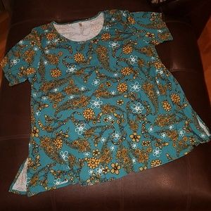 Lularoe Tunic Top Turquoise Gold Floral Print 3XL
